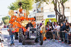 LIMASSOL, CYPRUS - FEBRUARY 26: Unidentified Carnival participants march in Cyprus Carnival Parade on FEBRUARY 26, 2017 Stock Photos