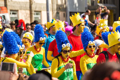 LIMASSOL, CYPRUS - FEBRUARY 26: Unidentified Carnival participants march in Cyprus Carnival Parade on FEBRUARY 26, 2017 Stock Photography