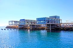 Limassol Old Port with modern restaurants and Mediterranean sea, Cyprus stock images