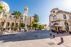 LIMASSOL, CYPRUS - MARCH 18, 2016: Agiou Andreou street, a histo Royalty Free Stock Image