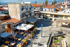 LIMASSOL, CYPRUS - March 18, 2016: Cafes and restaurants at  Lim. Assol castle square Royalty Free Stock Photo