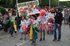 Carnival in Cyprus. Limassol, Cyprus - March 10, 2013: Children's Annual Carnival Procession passing along the embankment in Limassol stock photography