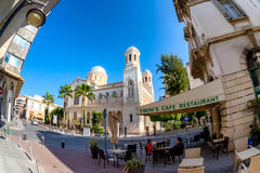 LIMASSOL, CYPRUS - MARCH 18, 2016: Street cafe terrace in old to Stock Image