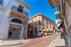 LIMASSOL, CYPRUS - MARCH 18, 2016: Street with lace and tableclo Stock Photography