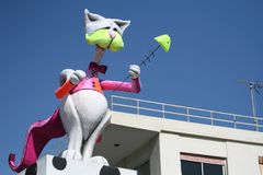 Carnival cat doll in front of blue sky stock photography