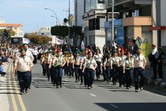 Scout group taking part in parade royalty free stock photography
