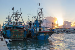 Limassol Old Port at sunset. Cyprus. Royalty Free Stock Photo