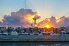 Limassol Old Port at sunset. Cyprus. Royalty Free Stock Image