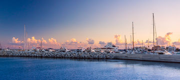 Limassol Old Port at sunset. Cyprus. Stock Photos