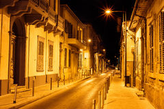 Limassol Old Town Street at night. Cyprus.  Stock Photo