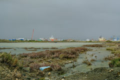 Limassol port na burzowym dniu Zdjęcia Stock