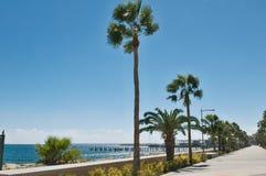 Limassol Promenade Alley, Molos, Cyprus stock photo