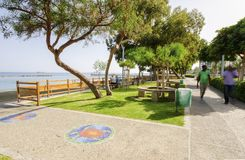 Limassol seafront promenade, Cyprus. A summer view of the beach front in Limassol city in Cyprus in Neapoli area, near the Olympic Residence. A view of the royalty free stock photography