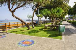 Limassol seafront promenade, Cyprus. A summer view of the beach front in Limassol city in Cyprus in Neapoli area, near the Olympic Residence. A view of the royalty free stock images