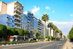 Limassol street. Street in Limassol, Cyprus island Stock Photos