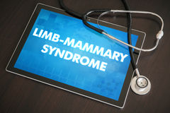 Limb-mammary syndrome (cutaneous disease) diagnosis medical conc. Ept on tablet screen with stethoscope Royalty Free Stock Images