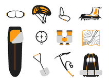 Сlimbing set: carbines, Ice ax, boots with crampons, backpack Stock Images