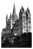 Limburg Cathedral detailed woodblock print Stock Images