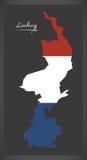 Limburg Netherlands map with Dutch national flag Stock Photo