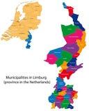 Limburg - province of the Netherlands. Administrative division of the Netherlands. Map of Limburg with municipalities Stock Photo