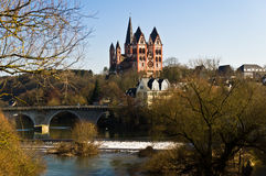 Limburger Dom. On a background of old bridge and rapids Stock Photo