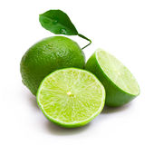 Lime. With  halves isolated Royalty Free Stock Photography