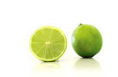 Lime. Cutted in half on a white background Royalty Free Stock Image