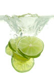 Lime. Thrown into the water with splash, on white background Royalty Free Stock Photography