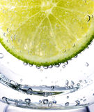 Lime. Closeup of lime slice with soda in glass Royalty Free Stock Images