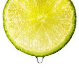 Lime. Closeup of lime slice with water drop Royalty Free Stock Photos