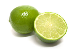 Lime. A green shiny sliced lime Stock Photo