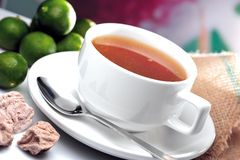 Lime Assam Tea. A cup of lime assam tea royalty free stock images