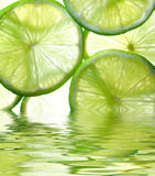 Lime background. Close up photo of lime background reflected in the water Royalty Free Stock Image