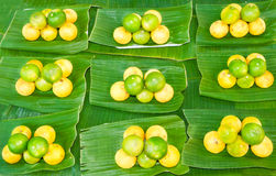 Lime on Banana leaf Royalty Free Stock Photography
