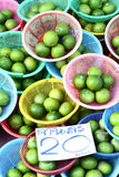 Lime in basket on thai markets. Taste to sour Stock Image