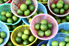 Lime in basket on thai markets. Taste to sour Royalty Free Stock Photo