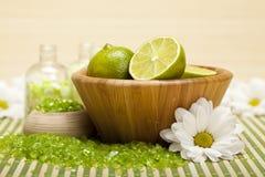 Lime bath salt Stock Photo