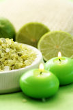 Lime bath salt Royalty Free Stock Images