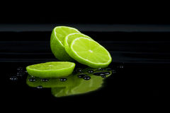 Lime on black Royalty Free Stock Photography