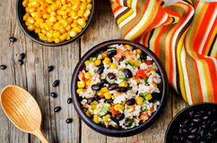 Lime black beans corn rice Royalty Free Stock Photo