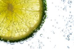 Lime with bubbles Royalty Free Stock Photos