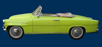 Lime Car. Lime Green / Yellow Vintage Car royalty free stock image