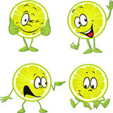 Lime cartoon with hands isolated Royalty Free Stock Photos