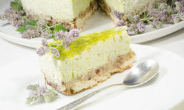 Lime cheesecake decorated with mint flowers Royalty Free Stock Photo
