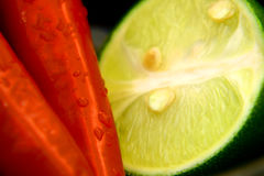 Lime and chilli. A picture of lime and chilli stock photography