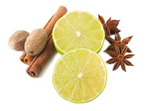Lime, cinnamon, anis and nutmegs Royalty Free Stock Photography