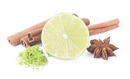 Lime, cinnamon, anis and peel Royalty Free Stock Images