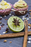 Lime and cinnamon and anis. Lime with cinnamon and anis spice Stock Photography