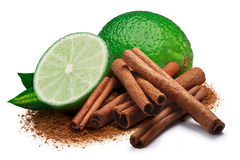 Lime with cinnamon, clipping paths Stock Images