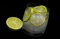Lime cocktail. With soda and ice royalty free stock photo